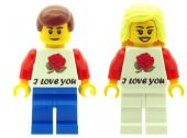 Boy And Girl with I Love You T-Shirt, Perfect for Valentines, Birthday or any other Special Occasions - Custom Designed Minifigures